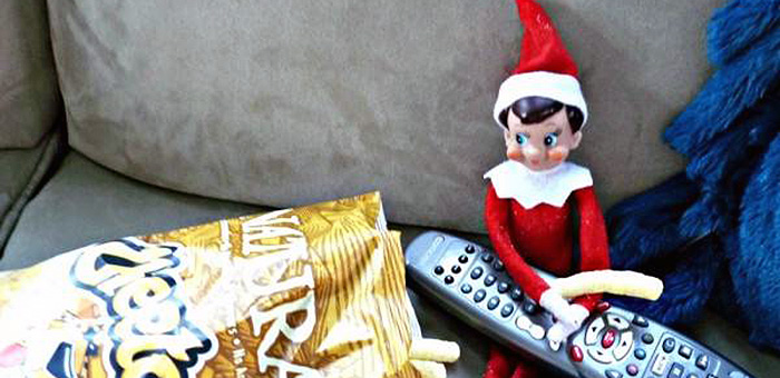 Jazzercise Elf watching tv